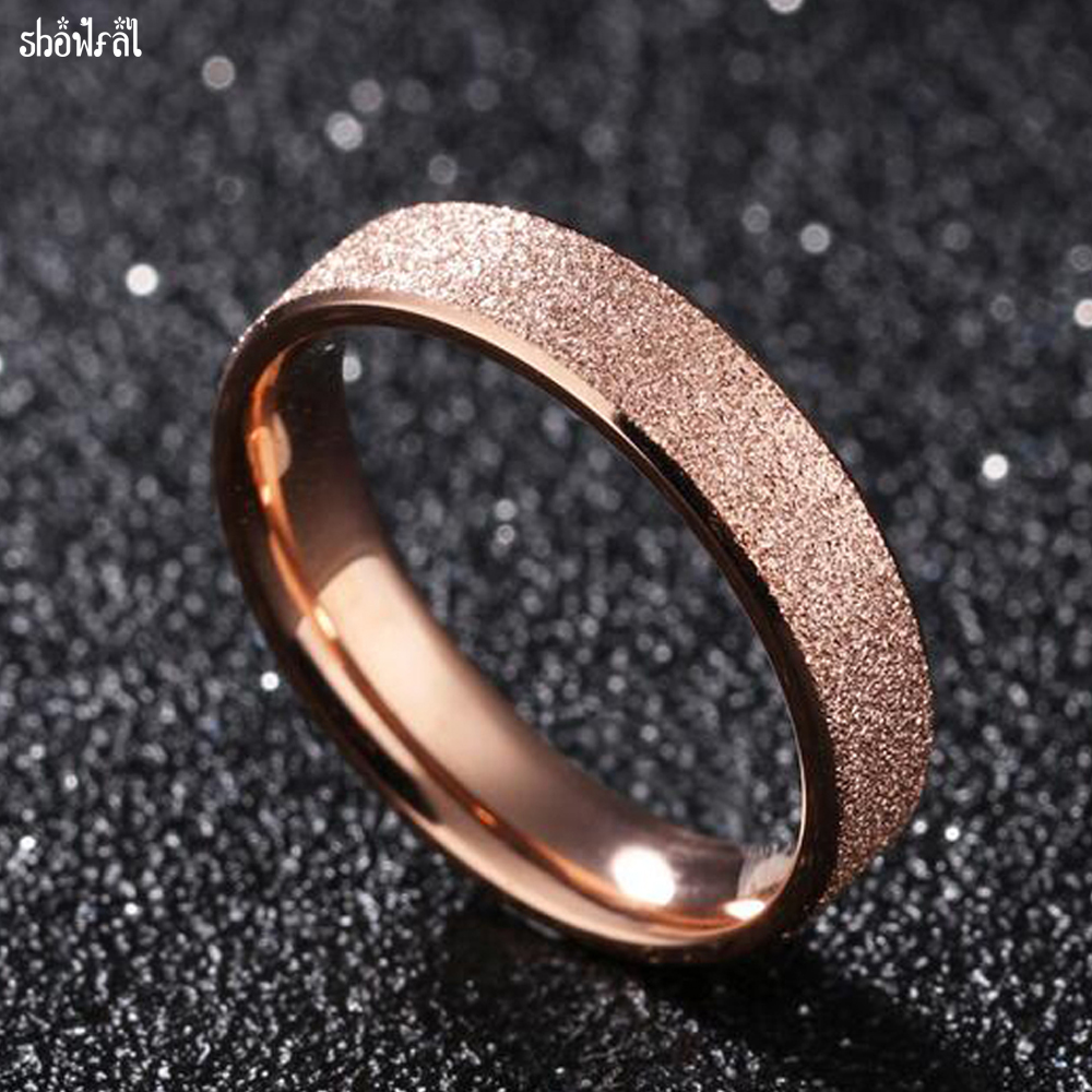 Fashion Jewelry Charm Stainless Steel Frosted Rose Gold Color Rings For Women Wedding Engagement Ring For Women Gift