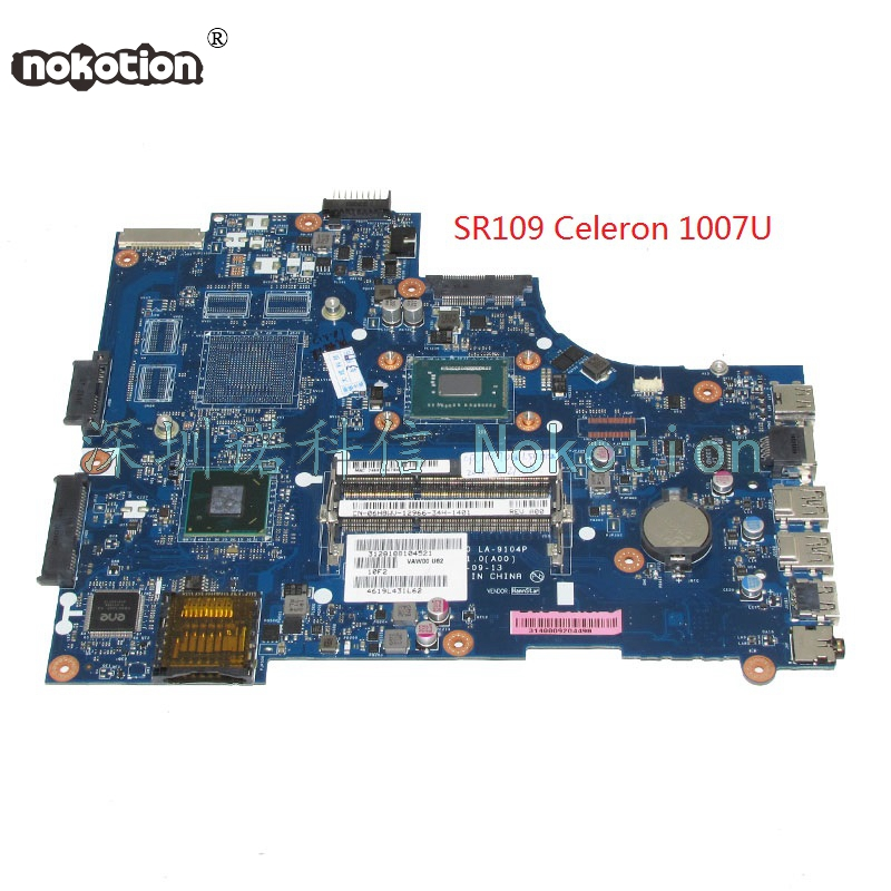 NOKOTION VAW00 LA-9104P CN-06H8WV 06H8WV 6H8WV laptop motherboard For board inspiron 15 3521 5521 SR109 Celeron 1007U Main board nokotion brand new qcl00 la 8241p cn 06d5dg 06d5dg 6d5dg for dell inspiron 15r 5520 laptop motherboard hd7670m 1gb graphics