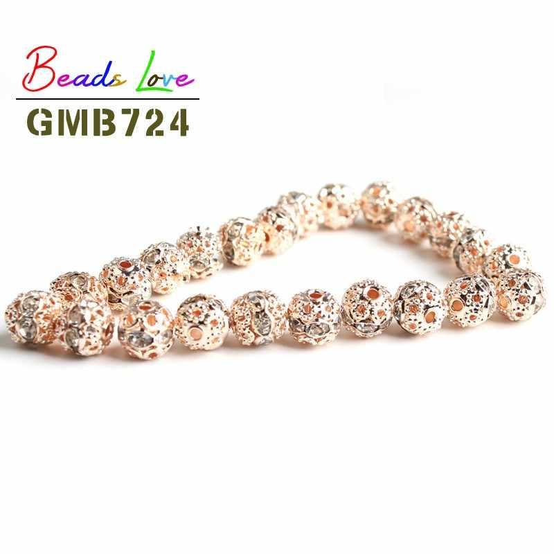 Großhandel 100 stücke 6mm Metall Überzogene Kristall Strass Ball Spacer Lose Perlen Für Schmuck Machen Diy Armband Halskette Schmuck