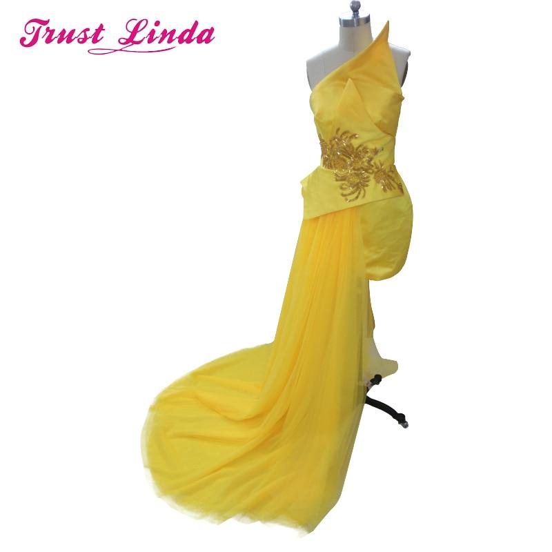 Унікальний дизайн жовтий шифон без бретелей вишивка пром сукня довжиною підлоги вечірнє плаття для весілля на замовлення