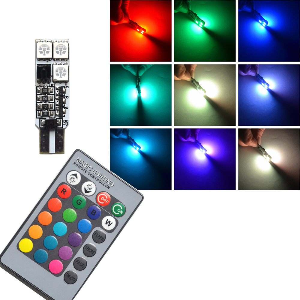 2pcs t10 rgb multi colors changing led lamp bulb colorful auto car interior light with remote. Black Bedroom Furniture Sets. Home Design Ideas