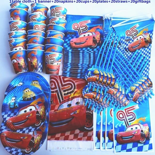 102pcs 20 persone buon compleanno bambini Macqueen baby shower decorazione del partito set banner tovaglia cannucce piatti tazza fornitore