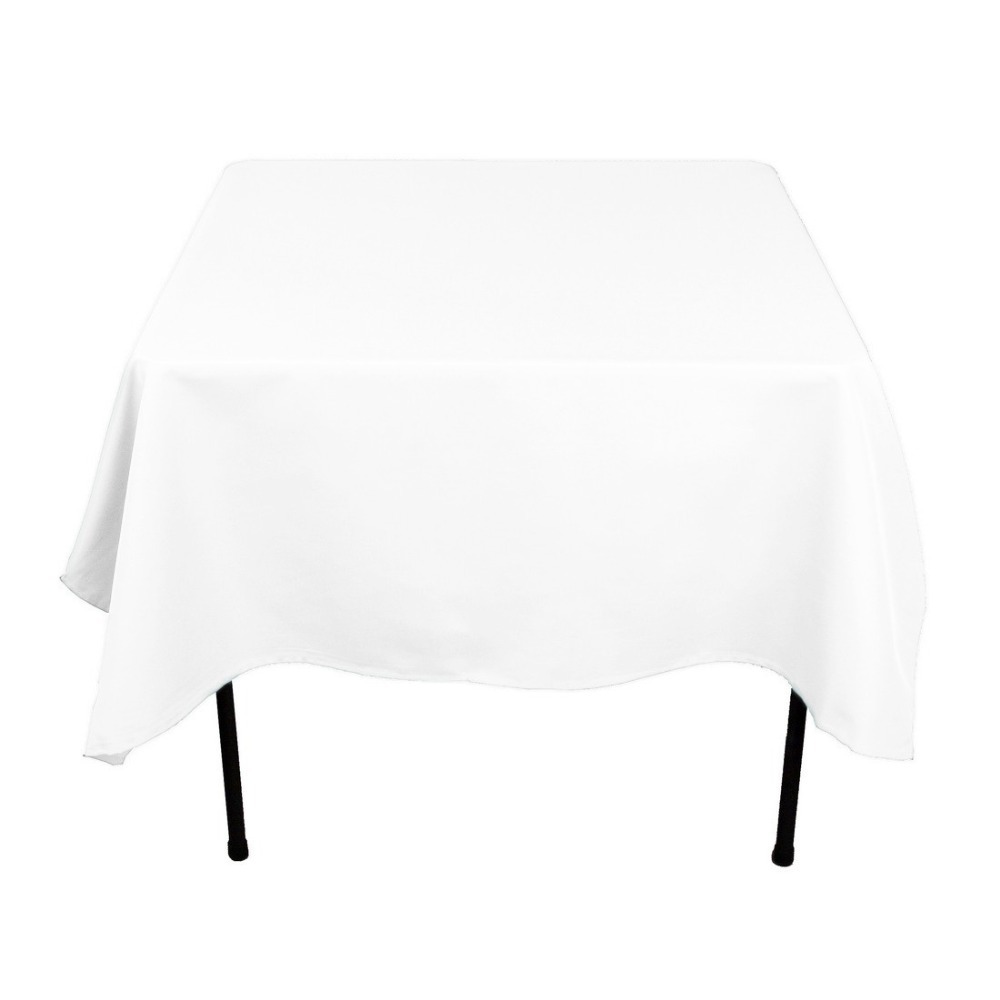 HK DHL Stain Feel 70 inch/180cm Polyester Square Tablecloth White for Wedding, 5/Pack