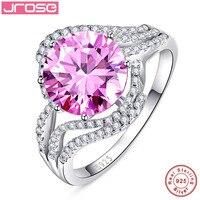 Jroseขายปลีกและขายส่งแต่งงานสีชมพูและสีขาวCZของแข็งแหวนบุคคล