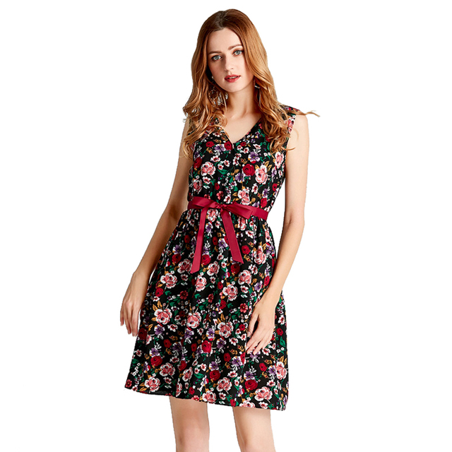 Deep V Neck Maxi Dress  With Women Sweet  Floral Print