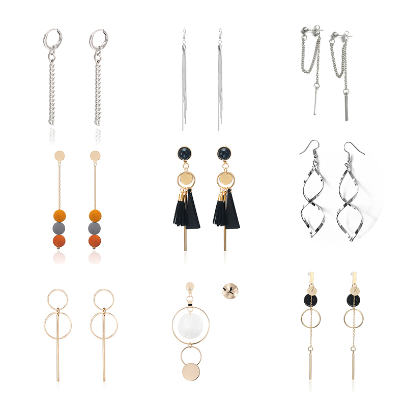Fashion Statement Earrings 2019 Gold Color Charms Long Earrings Metal Simple Woman Earrings For Gift Body Jewelry