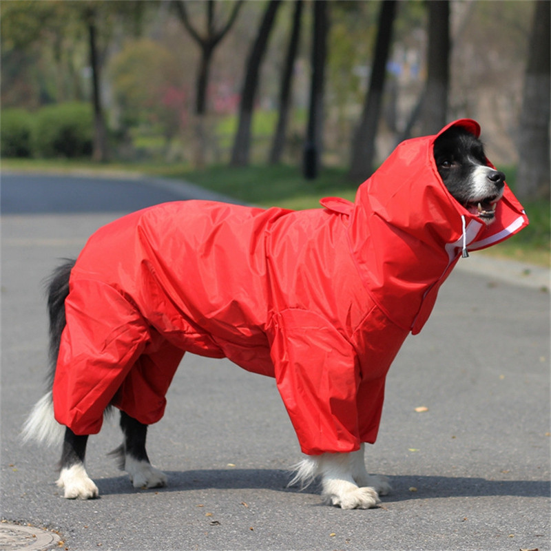 Red Blue Large Pet Dog Raincoat Clothes Rain Coat Clothes Hoody Waterproof Rain Lovely Golden Retriever Samo Dog Jackets ...