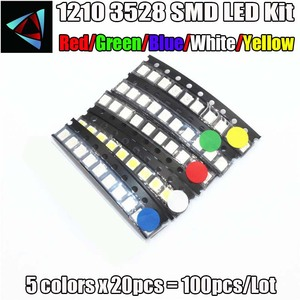 5 Values 100PCS/LOT Super Bright 3528 1210 SMD LED Red/Green/Blue/Yellow/White 20pcs Each LED Diode 3.5*2.8*1.9mm 3528 R/G/B/W/Y
