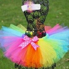Радужные юбки-пачки для девочек Детская фатиновая юбка-американка ручной работы с бантом в горошек и повязкой на голову с цветком; детская одежда для балета и танцев