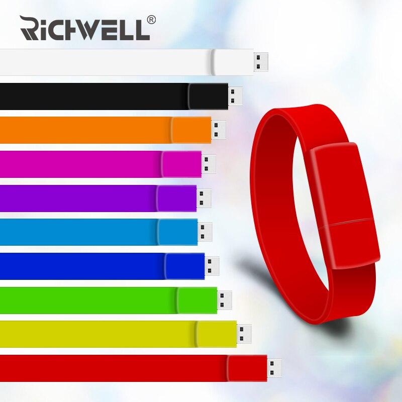 Pulsera de 10 colores Pen drive 4 GB 8 GB 16 GB 32 GB usb flash drive 64 GB usb 2,0 pulsera modelo pendrive U memoria de disco