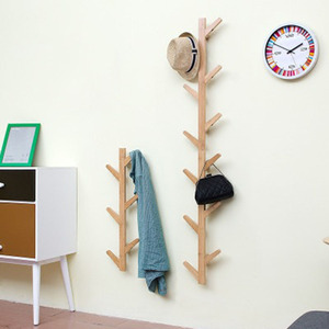 Image 3 - Nordic Style Coat Rack New 6 Hooks Wall Shelves Bamboo Wooden Hanging Rack living Room Bedroom Decoration Wall Hanger