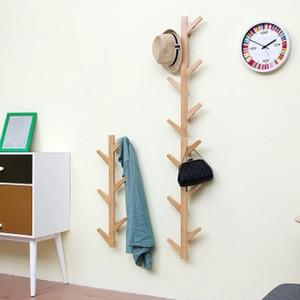 Image 3 - Styl skandynawski wieszak na kurtki nowy 6 haczyków półki ścienne bambusowy drewniany wieszak salon dekoracja sypialni wieszak