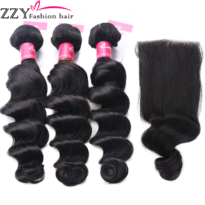 ZZY Fashion hair Loose Deep Wave Bundles With Closure Brazilian Human Hair Weave Non Remy Hair Extensions