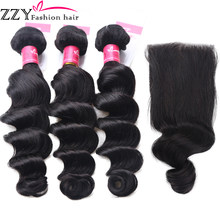 ZZY Fashion hair Loose Deep Wave Bundles With Closure Brazilian Human Hair Weave Non Remy Hair Extensions(China)