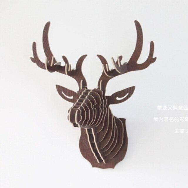 3D Puzzle Wooden DIY Creative Model Wall Hanging Deer Head Elk Wood Gift Craft Home Decoration Animal Wildlife IC971263