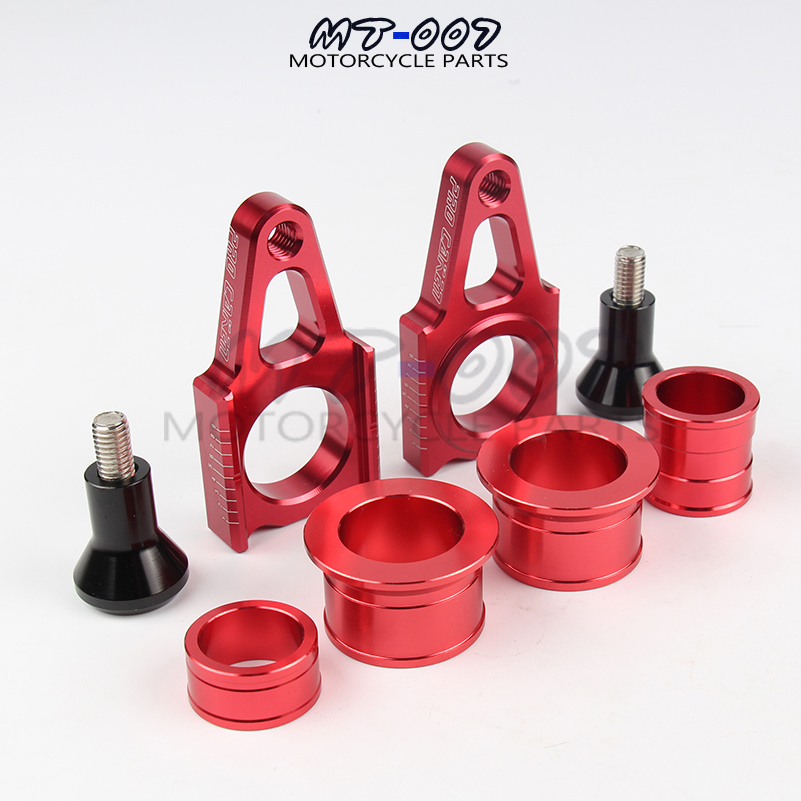 CNC Front & Rear Wheel Hub Spacers With Rear Chain Adjuster For CR125R CR250R CRF250R CRF250X CRF450R 450X Supermoto Motorcycle cnc offroad mx clutch brake levers for honda cr125r 04 07 cr250r crf250r 04 06 crf450r 04 06 crf250x 04 16 crf450x 05 16