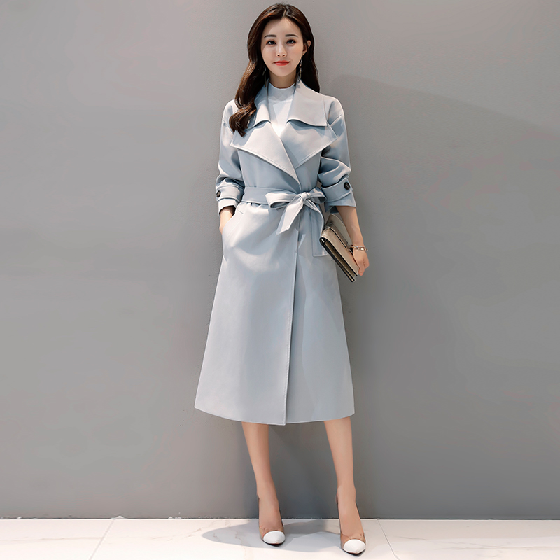 2018 Autumn New Women's Casual   trench   coat oversize Single Breasted Vintage Washed Outwear Slim Tops