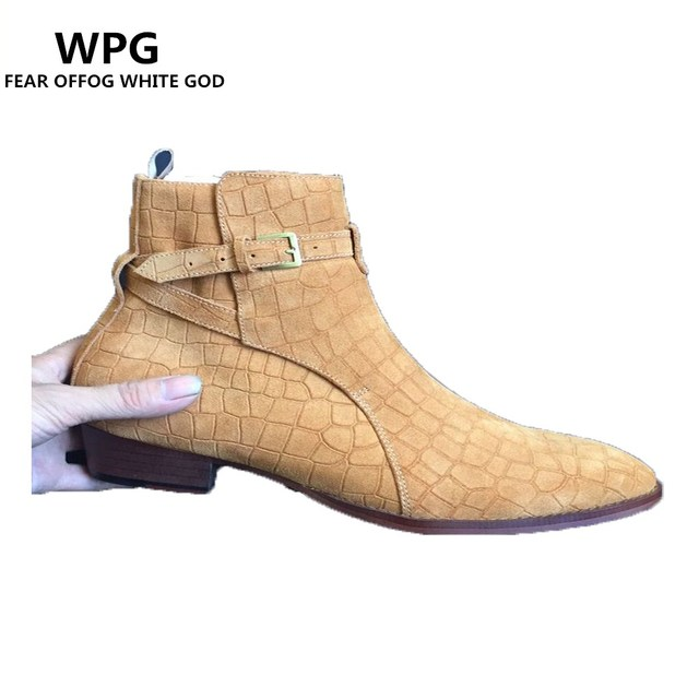 26c15cf253d US $89.99 |WPG Chelsea boots men brand designer New martin style slp  Genuine Leather ankle boots men tan west Vintage boots male shoes-in  Motorcycle ...