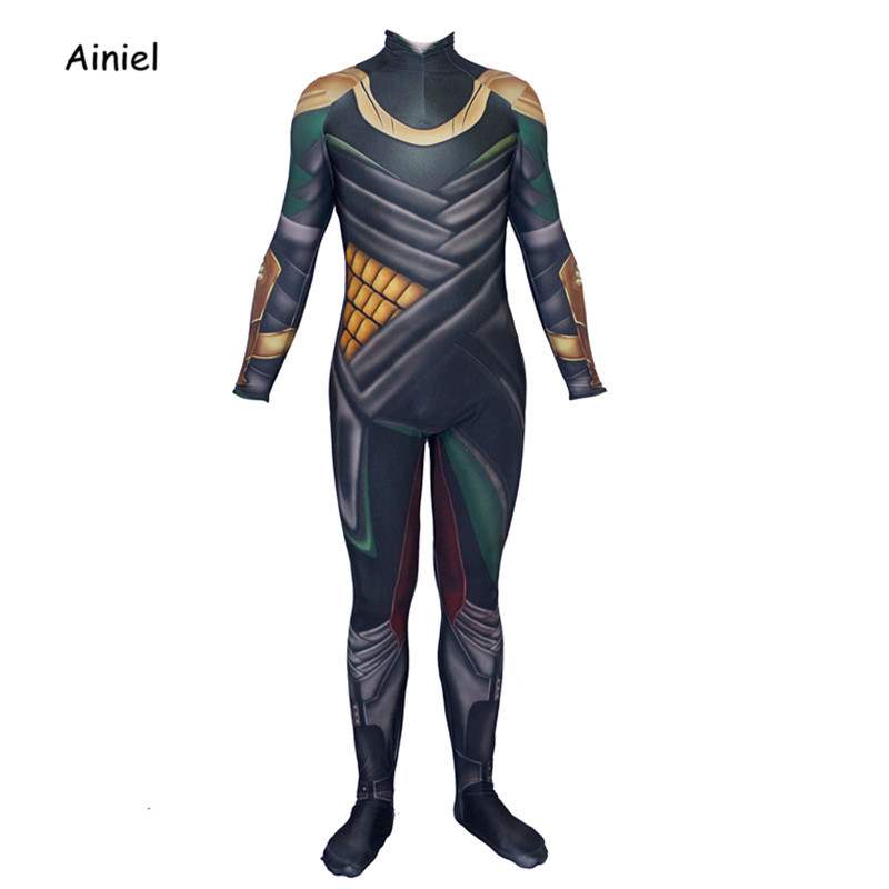 Ainiel  3D Printed  Thor The Dark World Loki Cosplay Costume Halloween Lycra Spandex Bodysuit Zentai Suit  Kids Adult