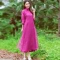 New2016Autumn Estilo Mujeres Vestido largo flojo de Lino de Algodón cuello mao vestido elegante vestido maxi Estilo de China ropa de organza vestido