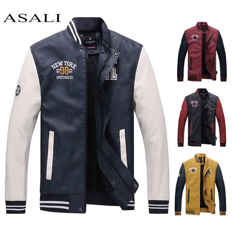 Jackets Men Stand Collar Pu Leather Coats Fleece Pilot Jacket Hombre Thick Faux Fur Zipper College Luxury Jaqueta De Masculina