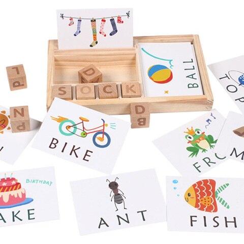 criancas montessori cartao cognitivo de madeira cartao palavras ingles alfabeto letras correspondencia ortografia aprendizagem jogo