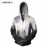 AMOMA Unisex Realistic 3d Digital Print Pullover Zip Hoodie Sweatshirt White Forest