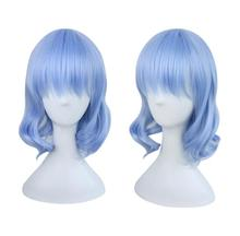 цена TouHou Project Remilia Scarlet Cosplay Wig 35cm Short Curly Wavy Heat Resistant Synthetic Hair for Women Anime Costume Blue Gift в интернет-магазинах