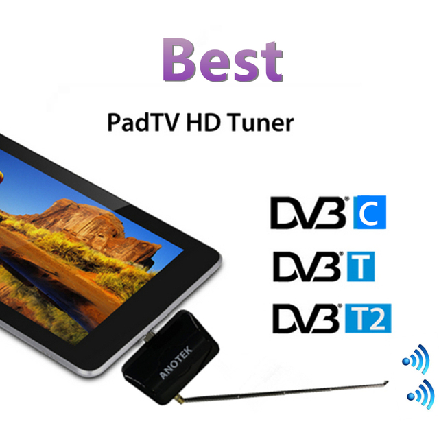 H.265/H.264 Full HD DVB T2 receiver micro USB tuner pad HD TV stick -ANOTEK Watch DVB-T2/-T on Android Phone/Pad