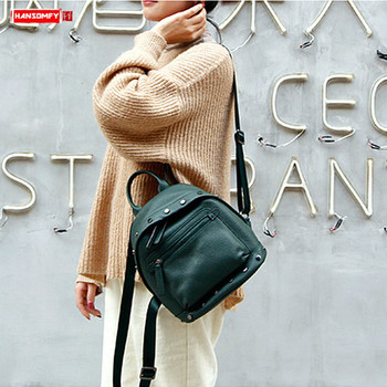 Original luxury fashion genuine leather Women backpack female 2019 new ladies rivet mini soft leather school small backpacks