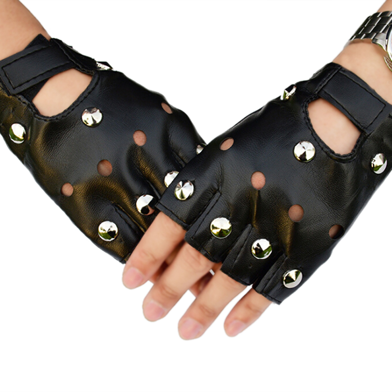 Halloween Party Women Men Unisex Silver Rivets Gloves Half Finger PU Leather Glove Punk Thin Sports Fitness Black Gloves