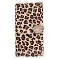 Бумажник Leopard Case Флип Кожаный Чехол Shell с Карты Держатель Ремешок для Samsung Galaxy S5 i9600 Телефон Аксессуары-коричневый