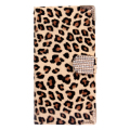 Wallet Leopard Case Flip Leather Cover Shell with Card Holder Strap for Samsung Galaxy S5 i9600 Phone Accessories -brown