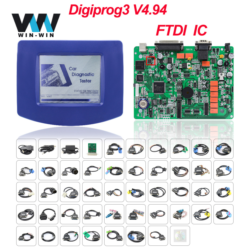 Free DHL Digiprog III V4.94 Digiprog3 with Full Set cables FTDI Odometer correction tool Digiprog 3 mileage correction toolCode Readers & Scan Tools   -