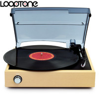 LoopTone 33 45 78 RPM Wooden Stereo Turntable Players Vinyl LP Record Player W 2 Built