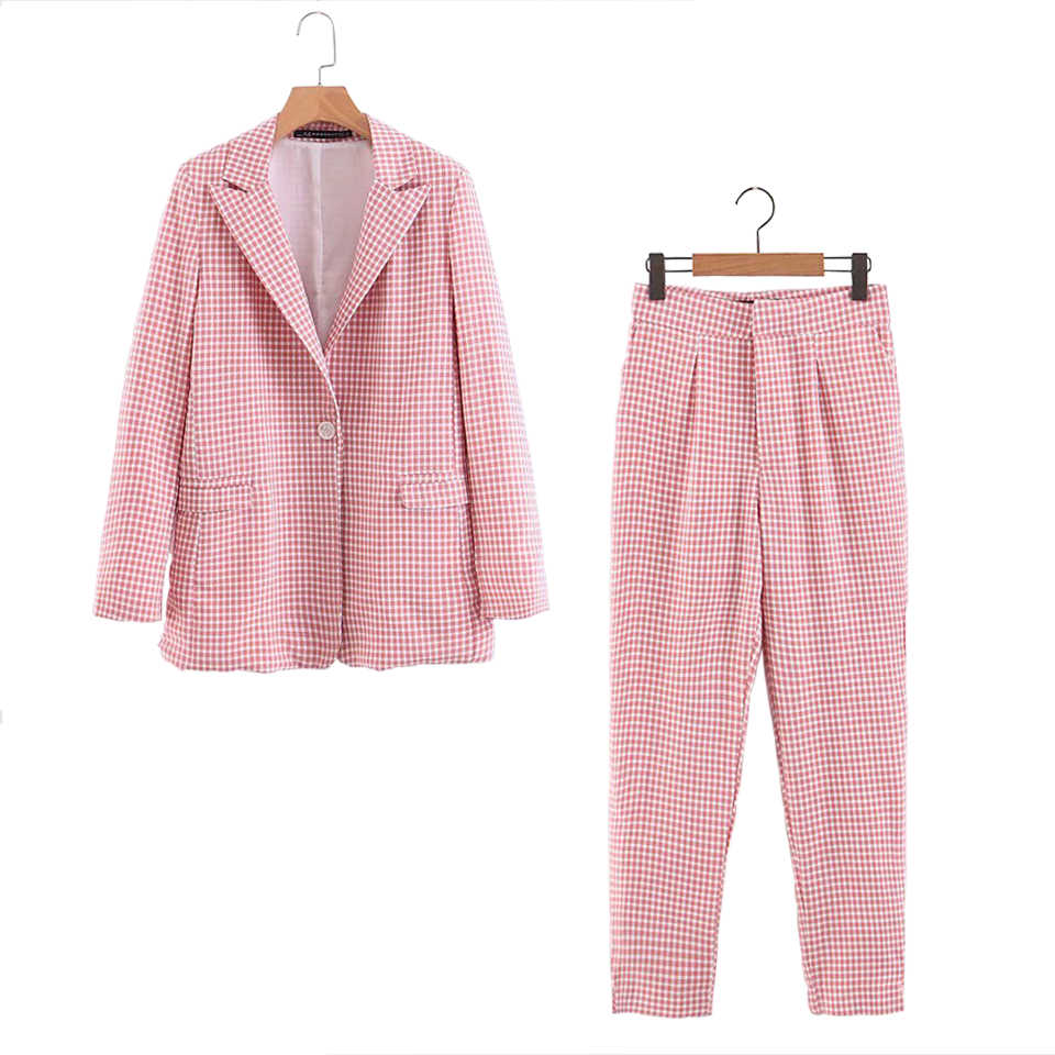 Women Casual Plaid Two Pieces Sets Pant Suits 2019 Spring Summer Single Button Blazers Coats and Pants Female Pant Suits Clothes