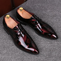 Inglaterra estilo de los hombres de negocios de lujo de la boda vestidos discoteca brillante juventud zapatos de charol oxfords punta estrecha plana zapato