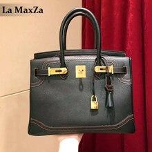 2017 ladies spliced pure cowhide design handbags