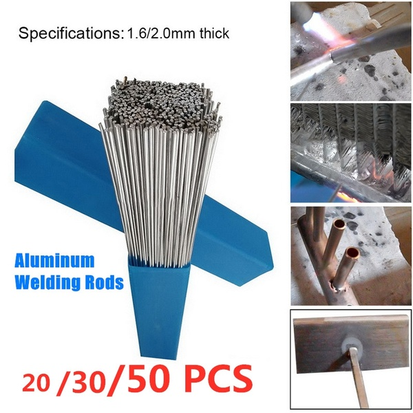 10/20/30/50PCs Aluminum Welding Brazing Rod 1.6/2MM Low Temperature Wire Solder Cored No Need Solder Powder Bundle Storage Box