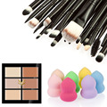 Colorful Professional Face Concealer Cream Cosmetic Face Care Foundation Powder Blush + 20Pcs Makeup Brush Set + Cosmetic Puff