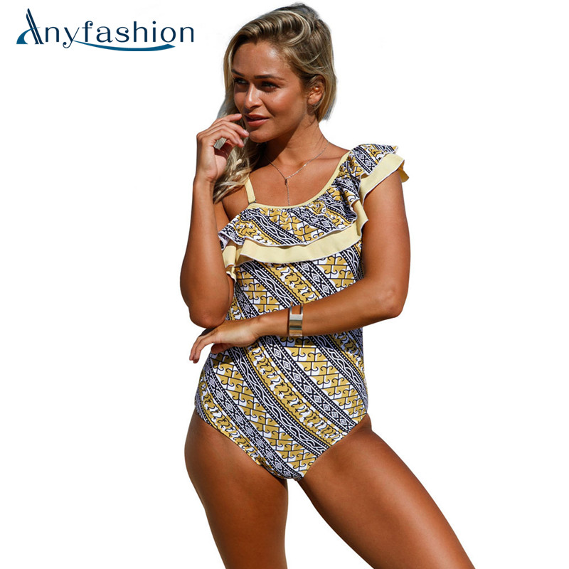 Plus Size Swimwear Women One Piece Swimsuit  Bathing Suits Beach Vintage Swimsuits With Skirt High Quality Monokini vintage bikinis retro plus size swimwear women high waist swimsuit print beachwear skirt bathing suits monokini tankini biquini