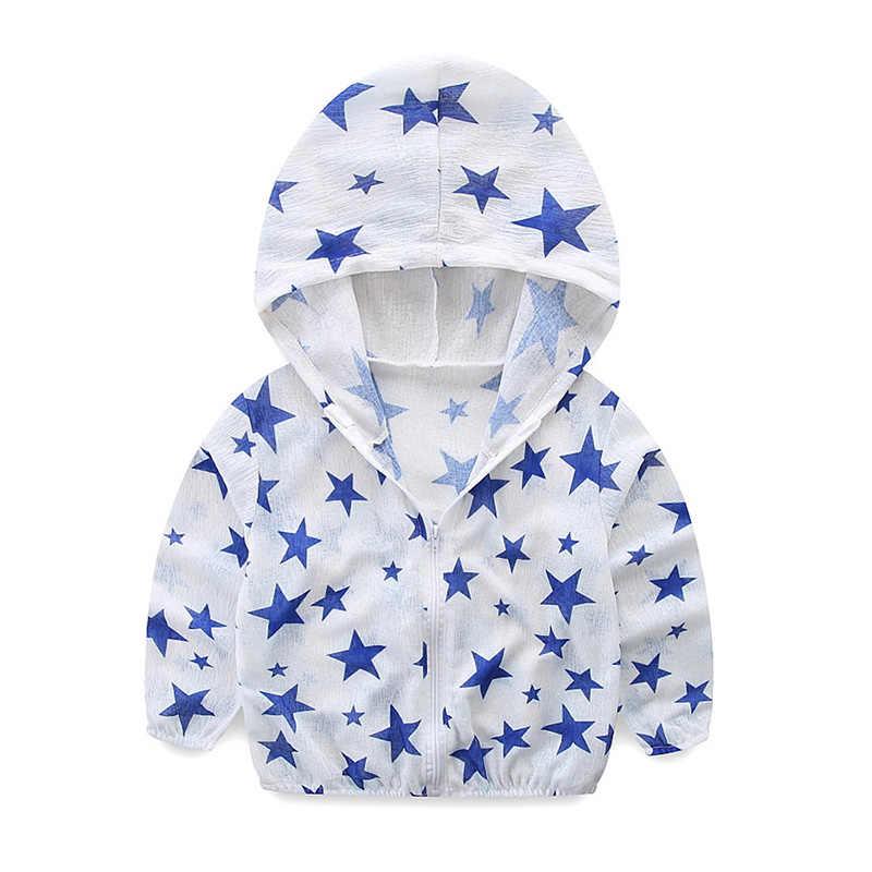 1-5 T בנות מעילים לילדים חדש קיץ & סתיו ילדי מעילי הדפסה מזדמן ברדס שמש הגנה מוצק ילדי הלבשה עליונה מעילים
