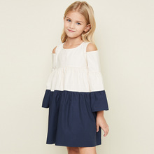 European and American children s clothing brand big girl s color shoulder A  doll summer cotton dress( d9f885856664