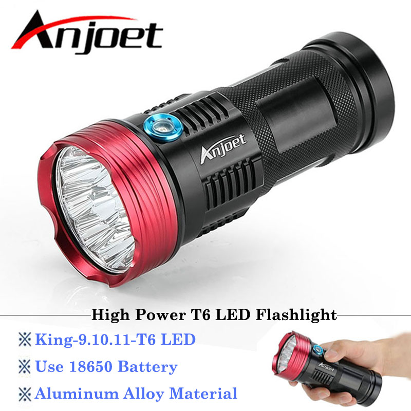 Anjoet King Tactical light High Power 9-10-11-T6 LED flashlamp Waterproof Aluminum Torch Lamp Light For Hunting Camping 4x18650