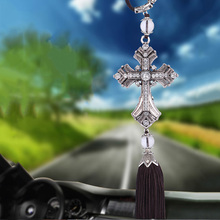 цены Car Pendant Cross Jesus Christian Car Rear View Mirror Hanging Car Styling Auto Decoration Vehicles Ornaments Car Accessories
