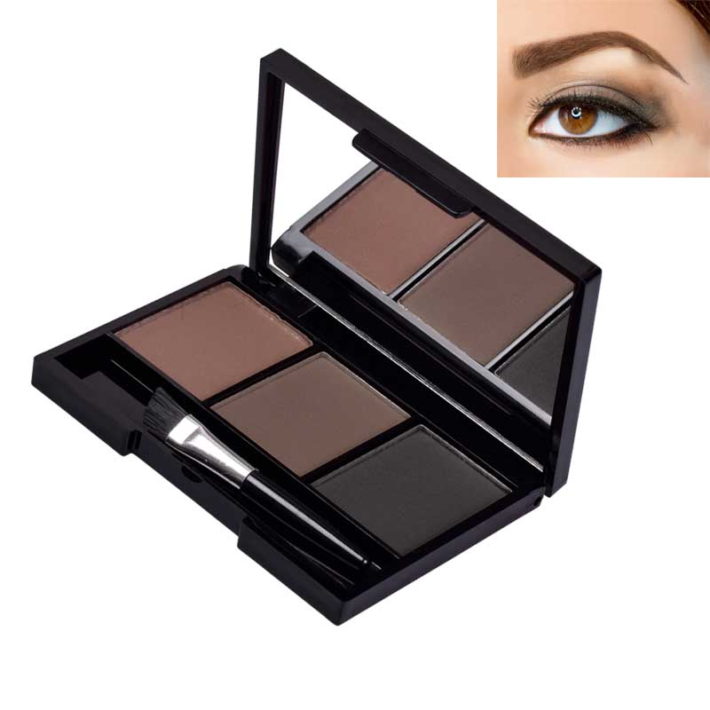 CHANCCI Eyebrow Powder 3 Colors Eye brow Powder Palette Waterproof and Smudge Proof With Mirror an Eyebrow Brushes Inside