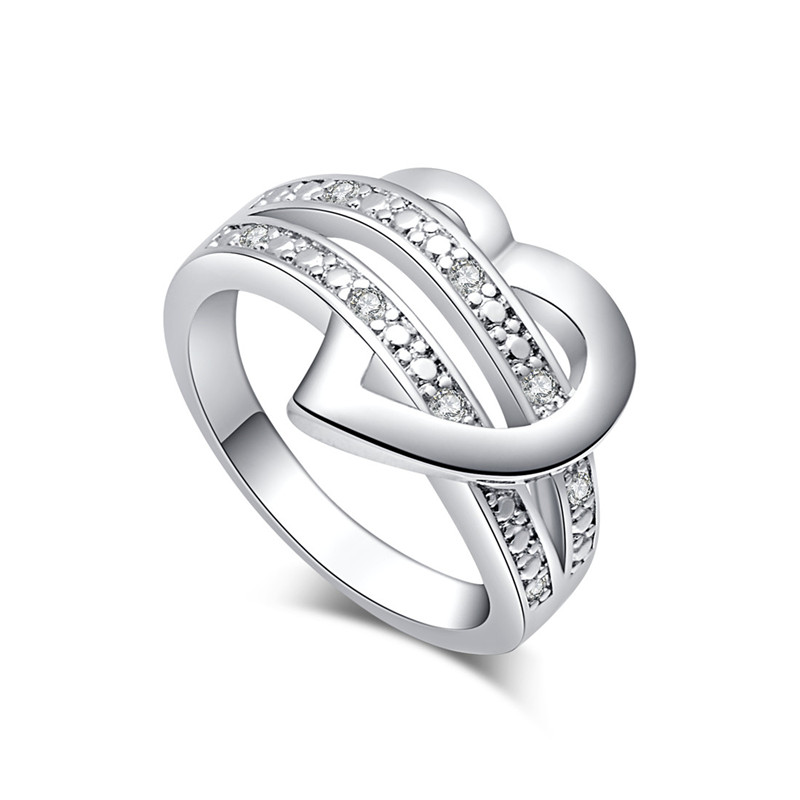 H:HYDE Fashion Women Jewelry Anillos Bijouterie Silver Color Heart Women Wedding Ring Si ...