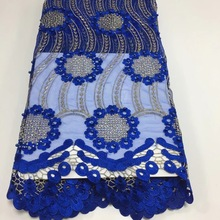 BEAUTIFICAL Blue lace African fabrics wedding fabric for dresses with guipure big sale  ML25N133