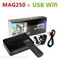 Mejor Linux mag250 IPTV Set Top Box apoyo USB Wifi conector de Cable No incluye cuenta IPTV canales mag 250 apoyo actualización