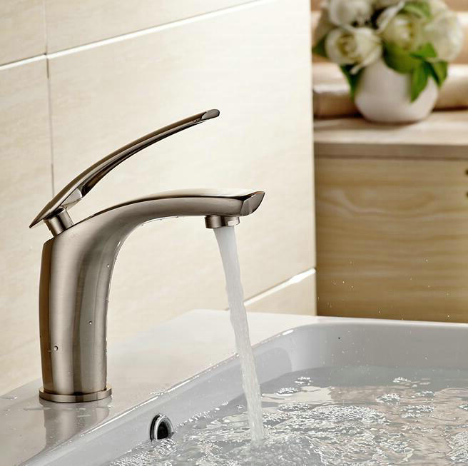 Free shipping Bathroom Brush Nickel Mixer Tap Single handle Single hole deck Mounted Bathroom Sink Faucet. Online Get Cheap Single Hole Bathroom Faucet Brushed Nickel